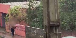 Idoso é flagrado descartando objetos em córrego de Ponta Grossa; VÍDEO